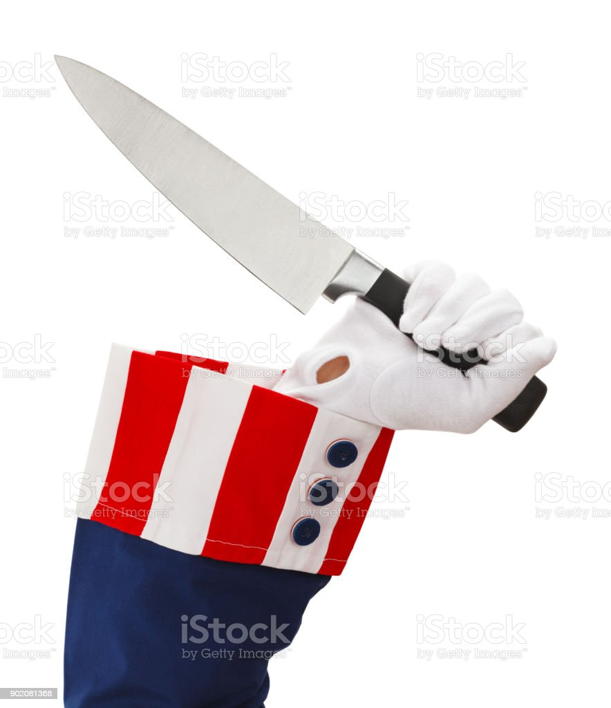 Uncle Sam and Knife stock photo