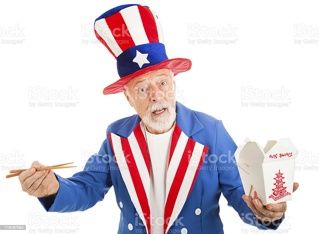 Uncle Sam Eats Chinese royalty-free stock photo