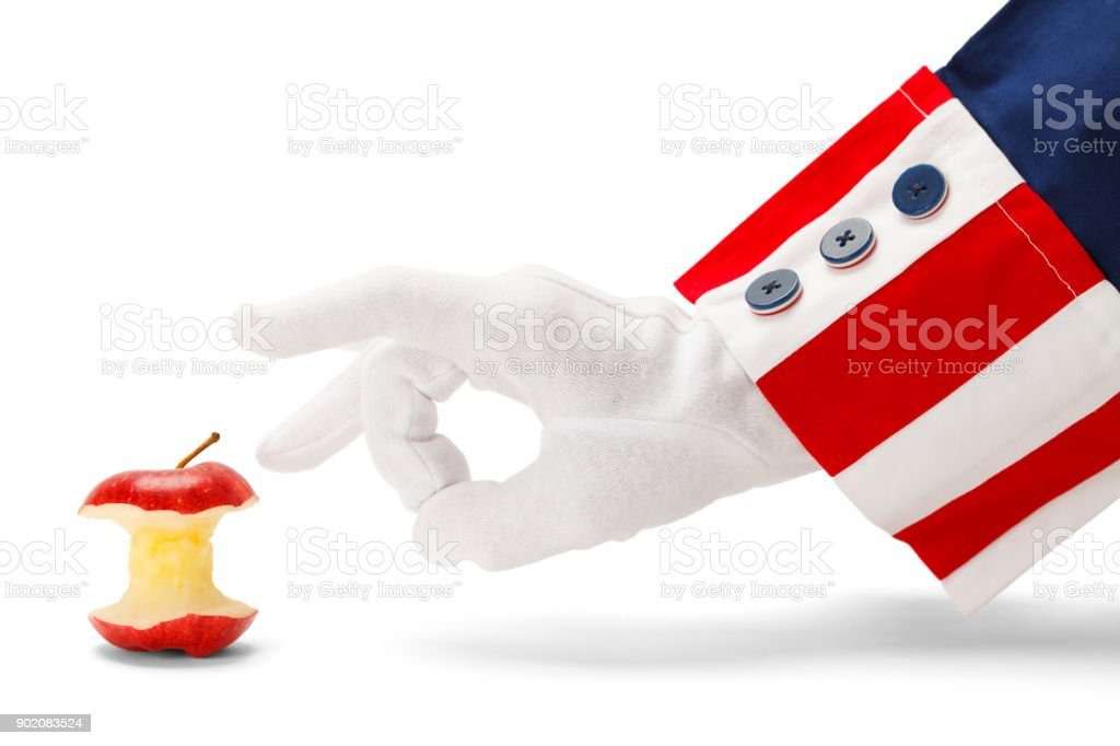 Uncle Sam Flicking Common Core Apple stock photo