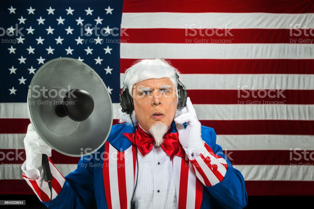 Uncle Sam listening with parabolic microphone - CONCEPT stock photo