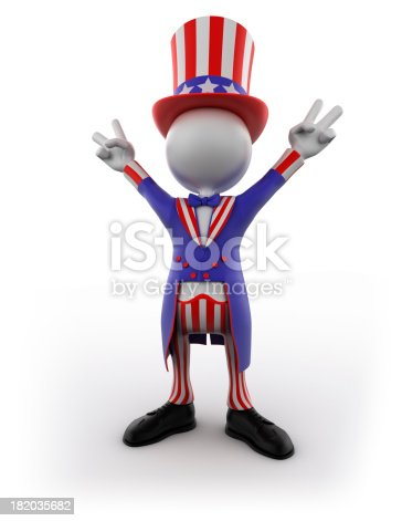 471353682istockphoto Uncle Sam making victory sign, isolated with clipping path 182035682