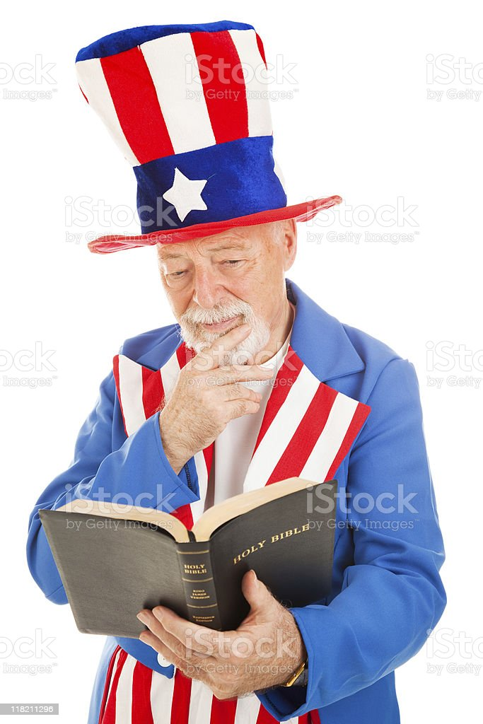 Uncle Sam Reads the Bible stock photo