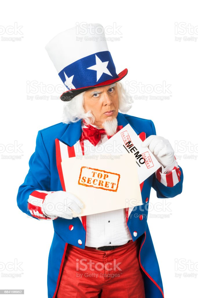 Uncle Sam revealing a Top Secret Memo from a file folder foto stock royalty-free