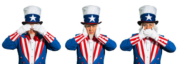Uncle Sam sees no evil, hears no evil and speaks no evil A patriotic Uncle Sam character with his hands over his eyes, hands over his ears and his hands over his mouth. He is portraying the old