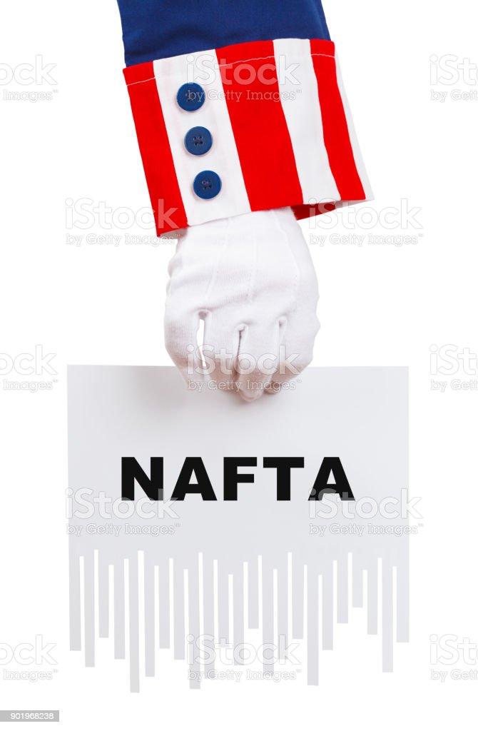 Uncle Sam Shredding NAFTA Document stock photo