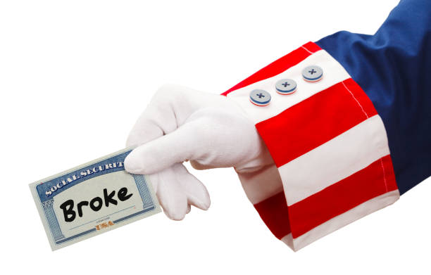 uncle sam social security broke - social security check stock photos and pictures