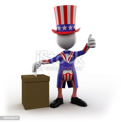 471353682 istock photo Uncle Sam voting, isolated with clipping path 182035347