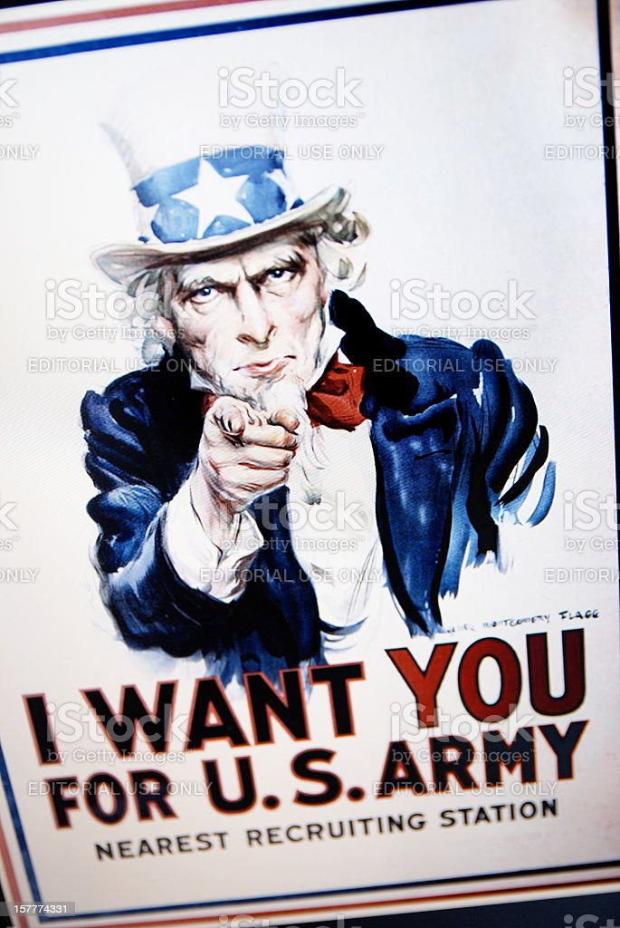 Uncle Sam's 1917 poster on laptop monitor stock photo