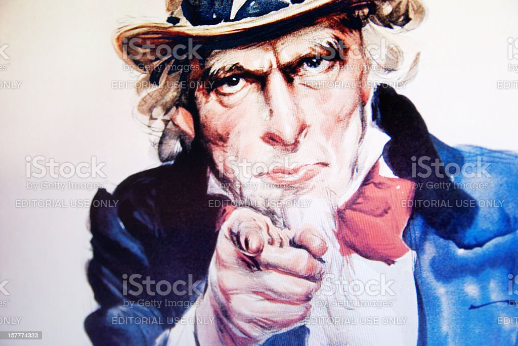 Uncle Sam's 1917 poster on laptop monitor royalty-free stock photo