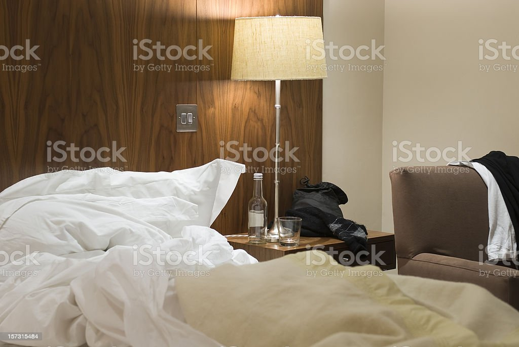 Uncleaned Hotel Room royalty-free stock photo