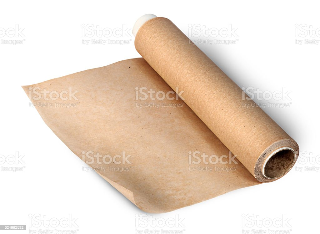 Uncoil roll of parchment stock photo