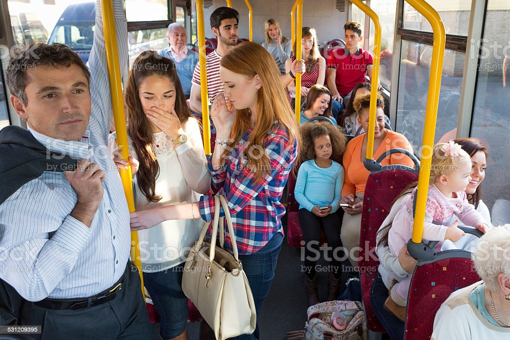 Uncomfortable Bus Journey stock photo