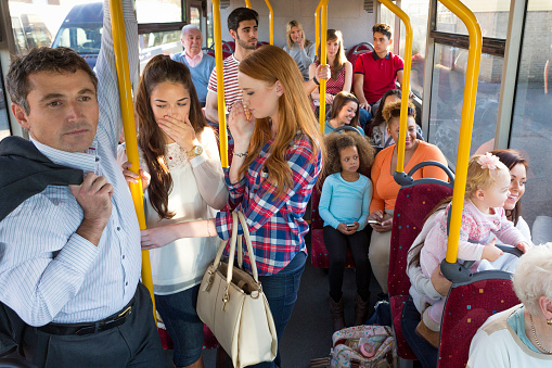 Uncomfortable Bus Journey Stock Photo - Download Image Now