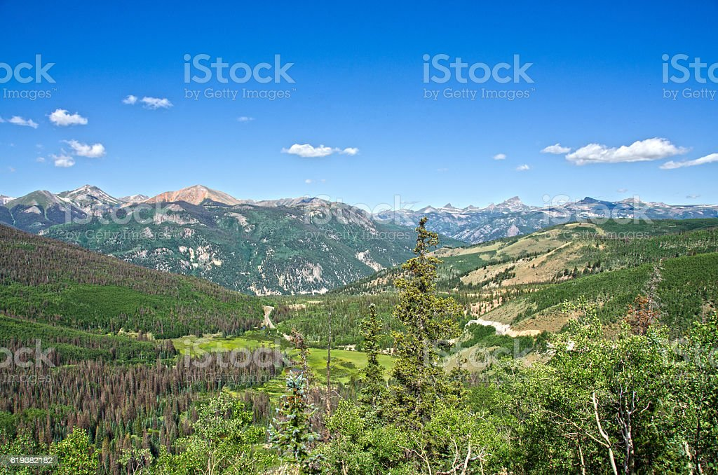Uncompahgre Peak and Beetle Kill Trees stock photo