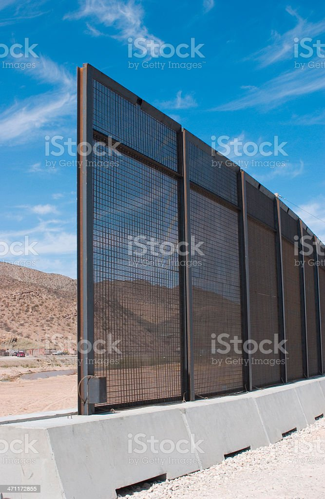 Uncompleted Border Fence. stock photo