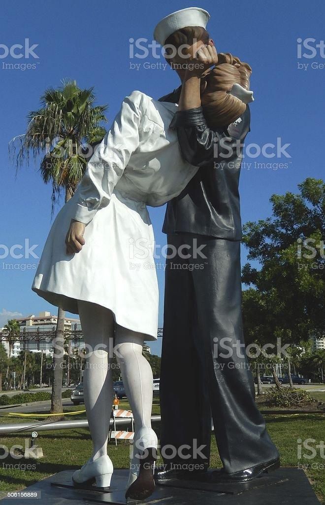 Unconditional Surrender  Sculpture by J. Seward Johnson 2006 stock photo