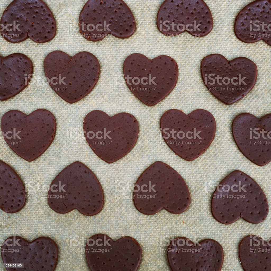 Uncooked Heart Shaped Cookies Raw Dough And Heart Shaped Cookie