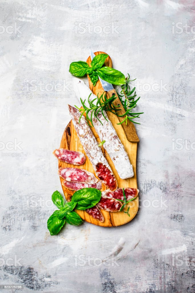 Uncooked jerked sausages from pork, top view stock photo