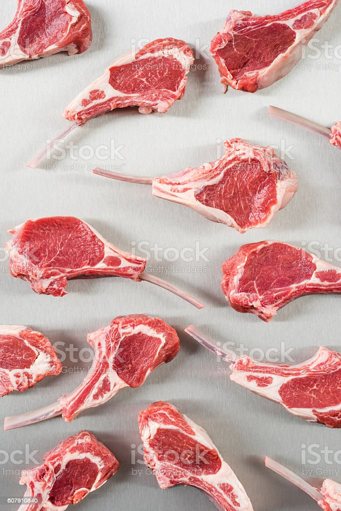 Uncooked lamb chops stock photo