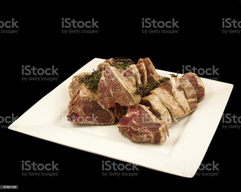 uncooked lamb chops royalty-free stock photo