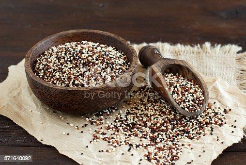 istock Uncooked mixed quinoa grain in a bowl 871640092