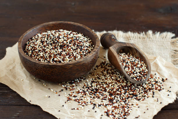uncooked mixed quinoa grain in a bowl - quinoa stock photos and pictures