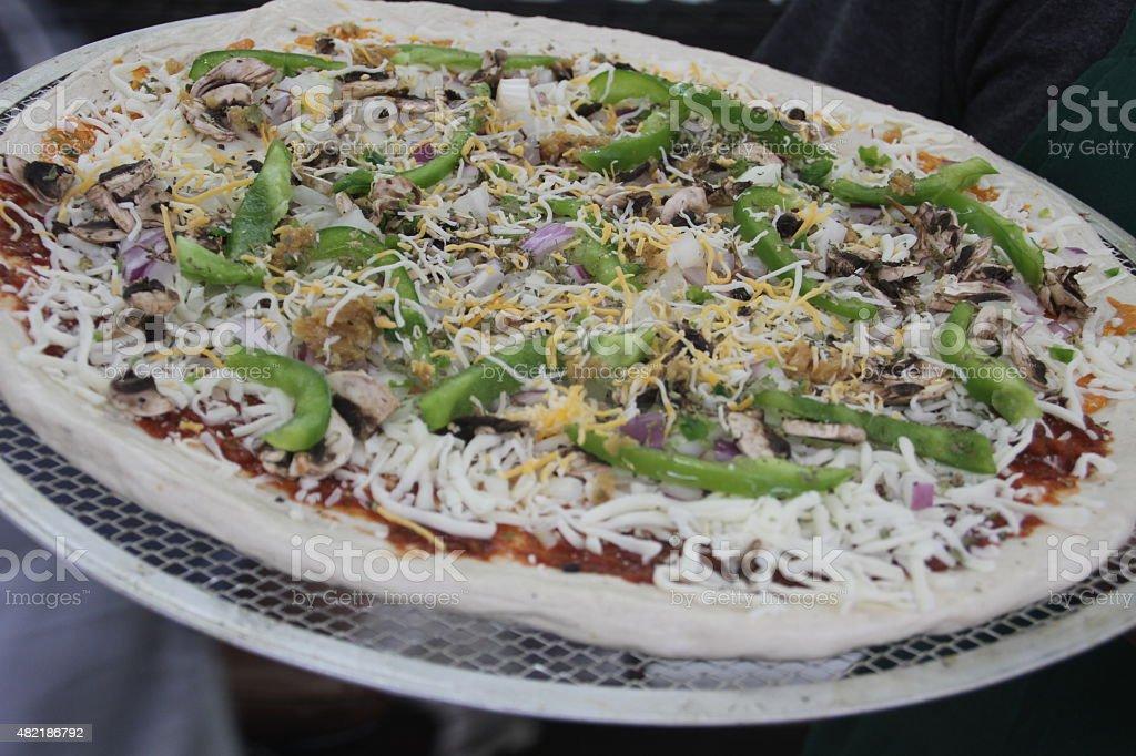 Uncooked Pizza stock photo