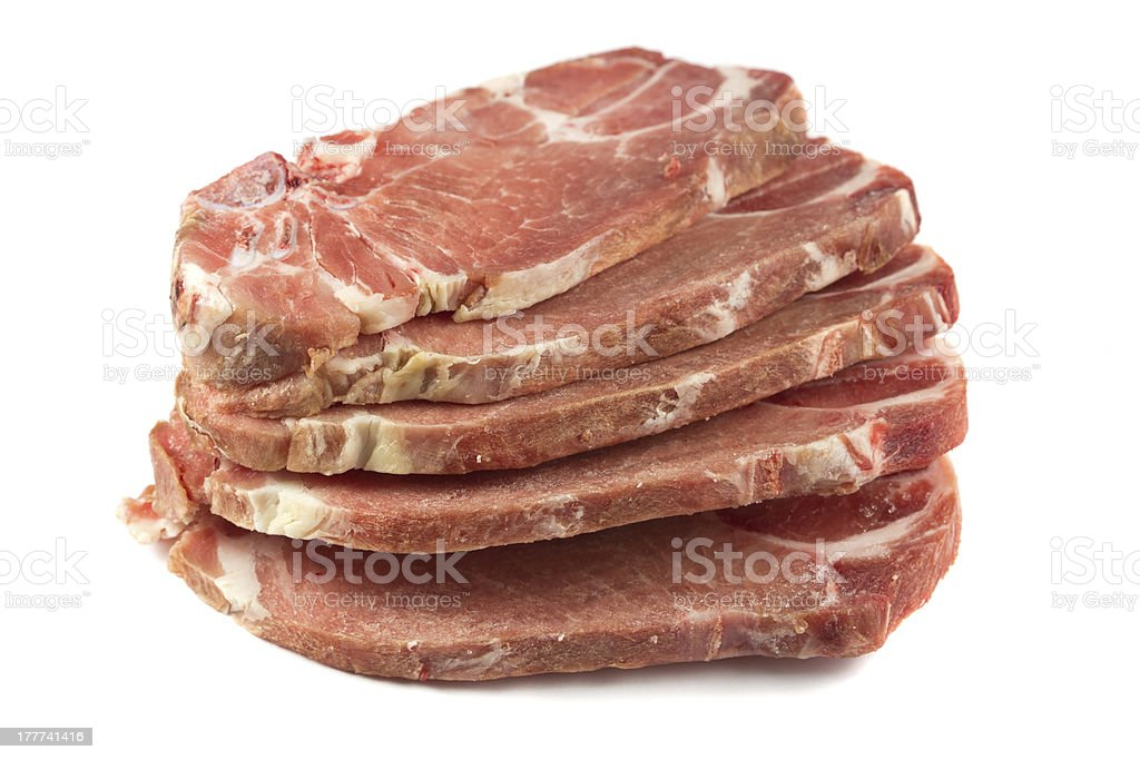 uncooked pork chops royalty-free stock photo