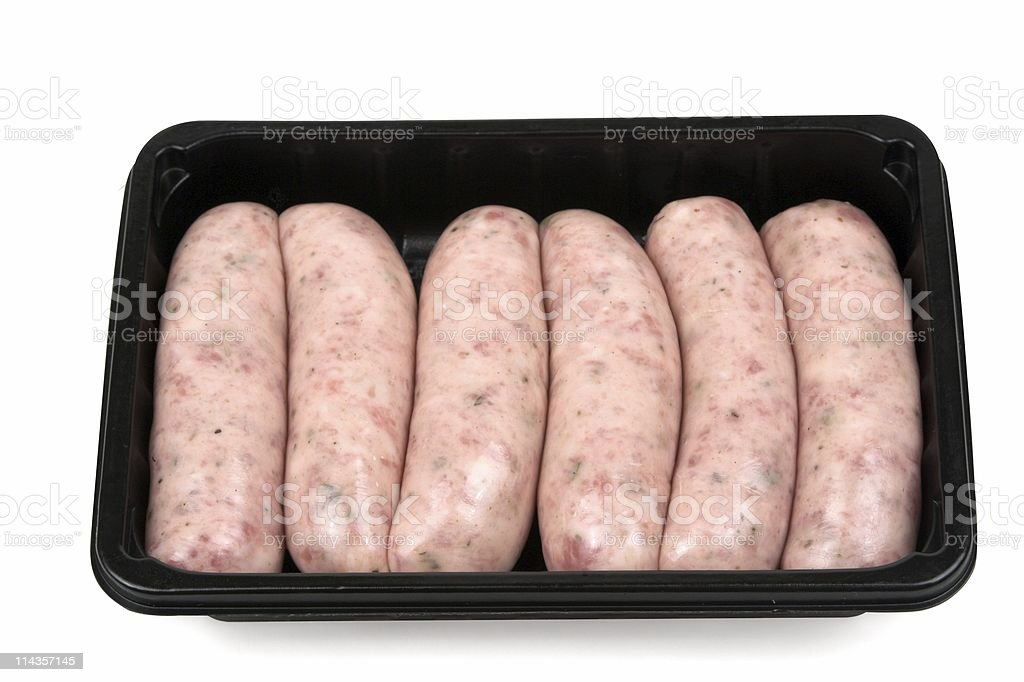 Uncooked Sausages In Plastic Tray royalty-free stock photo