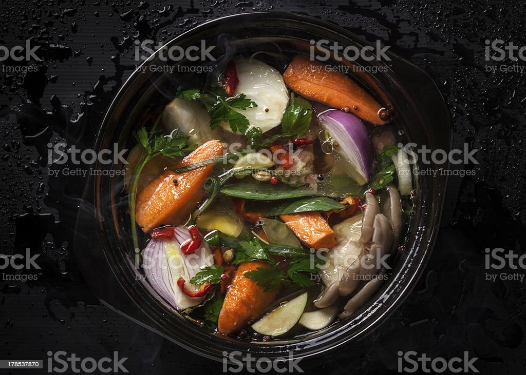 Uncooked vegetables for soup, broth, or stock stock photo