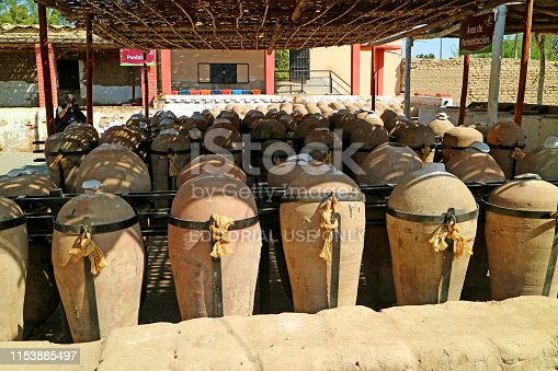 Uncountable Amphoras for the Production of Peruvian Pisco Brandy at the Winery in Ica Region, Peru, South America, 18th May 2018