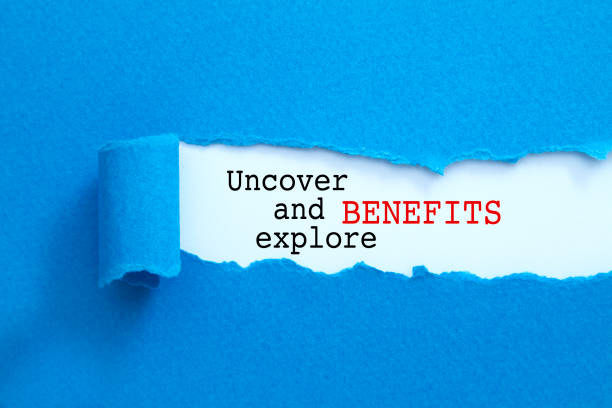 Uncover and explore benefits message stock photo
