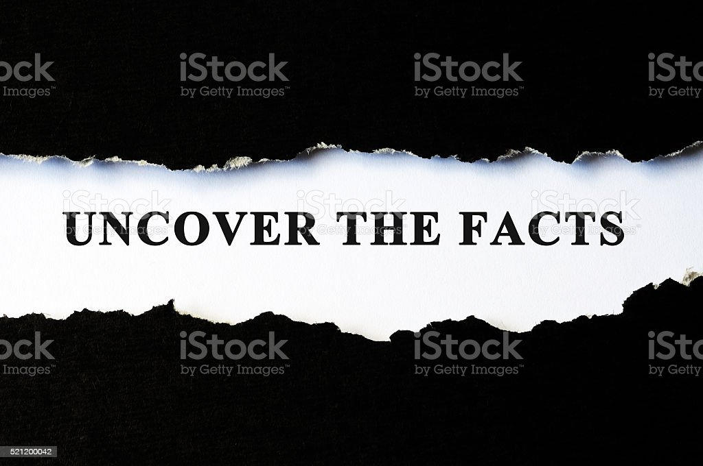 Uncover the facts concept stock photo