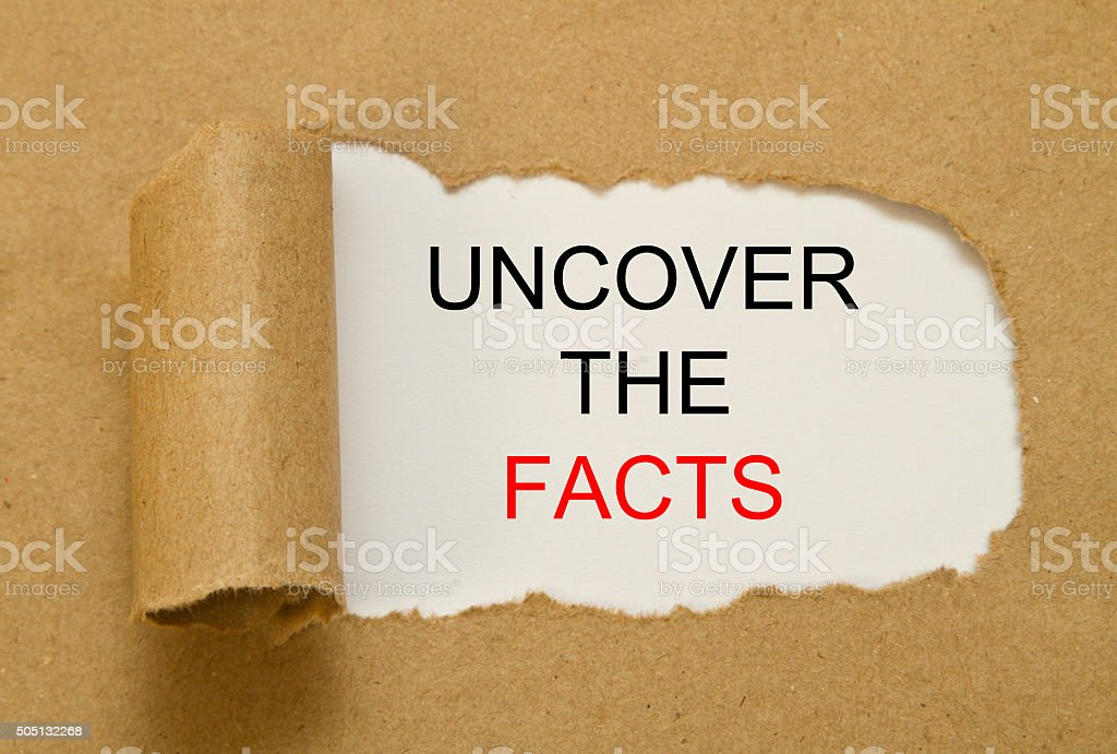 Uncover the facts stock photo