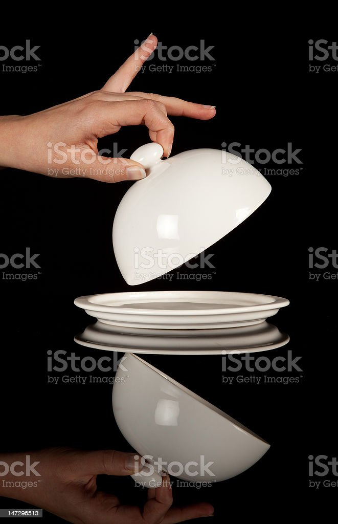 Uncovering an empty tray royalty-free stock photo