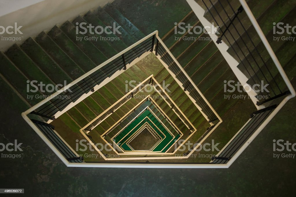 Uncrowded staircase of a building under modern architecture stock photo