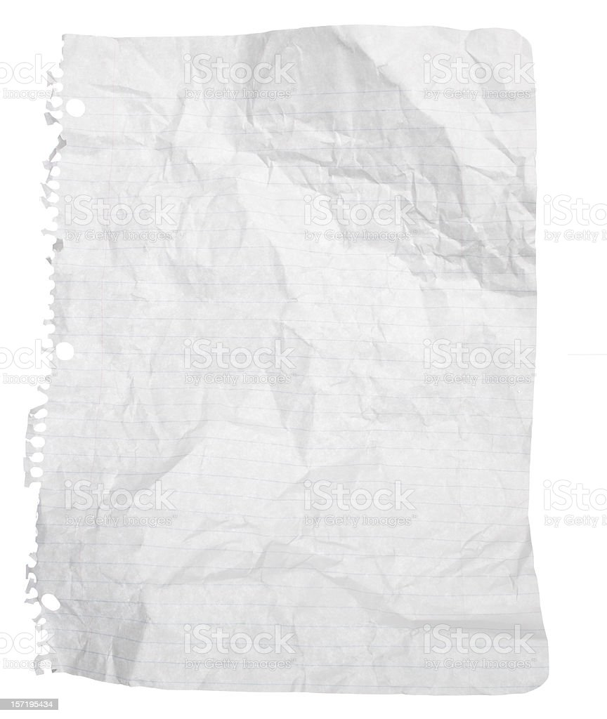 Uncrumpled Sheet of Spiral Notebook Paper with Clipping Path royalty-free stock photo