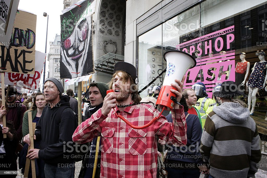 UK Uncut demonstrating outside Top Shop, Oxford Street, London. royalty-free stock photo