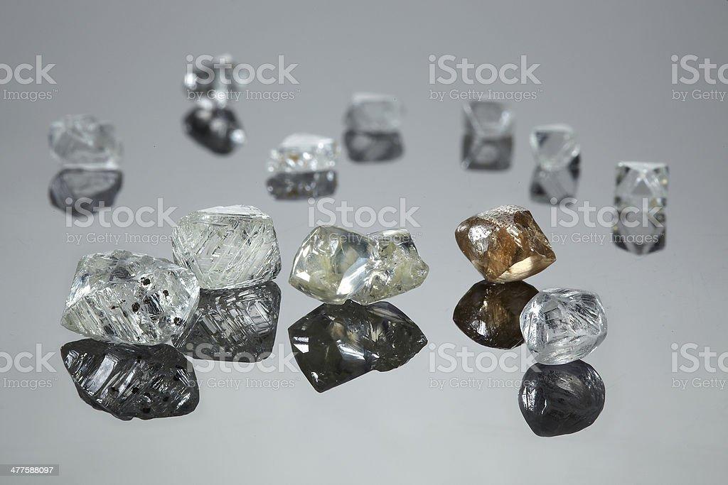 Uncut diamonds stock photo