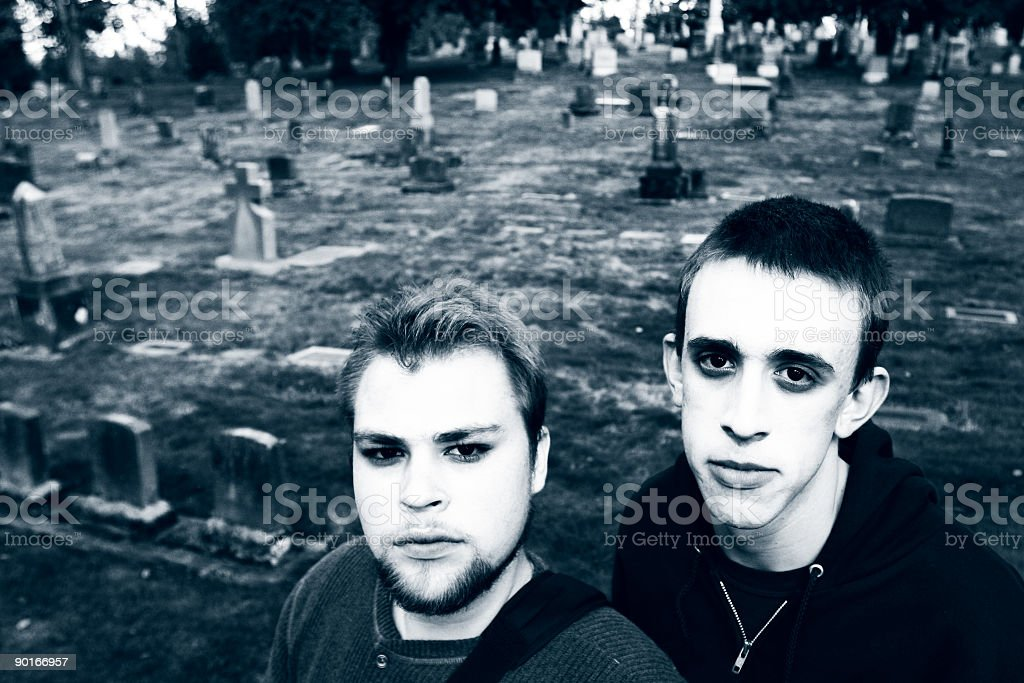 Undead Boys in a Graveyard royalty-free stock photo