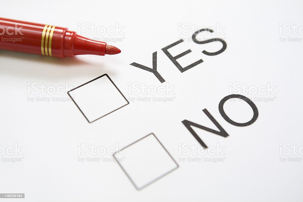 Undecided 'Yes/No' question royalty-free stock photo