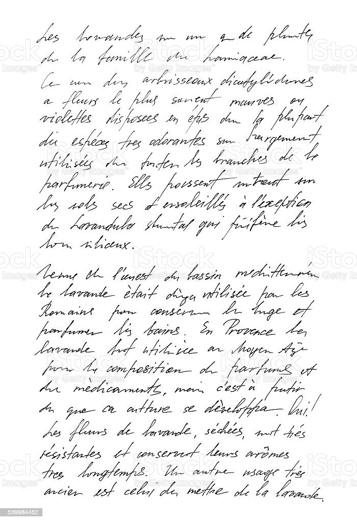 Undefined text french. Handwritten letter. Handwriting royalty-free stock photo