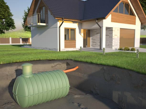언덴그라운드 정화조 및 집 - 3d 일러스트 - 독성 물질 뉴스 사진 이미지