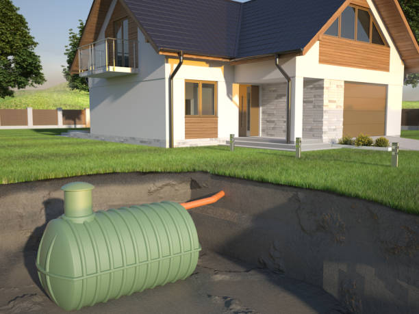 Undenground septic tank and house -  3d Illustration House septic tank system poisonous stock pictures, royalty-free photos & images