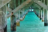 San Diego Pier, underside, sundawn