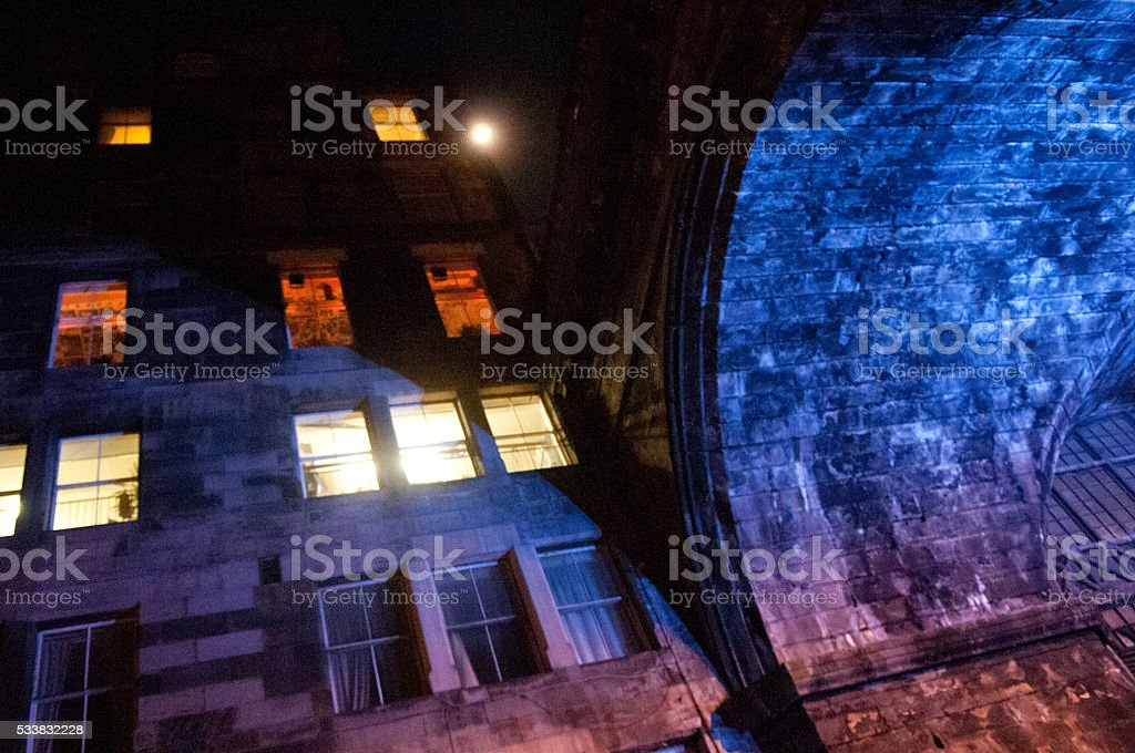Under a stone bridge stock photo