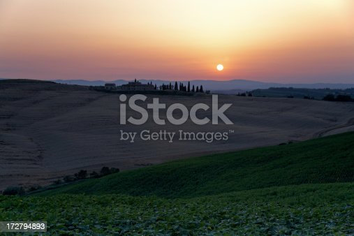A nice sunset in the tuscan hills near Buonconvento.