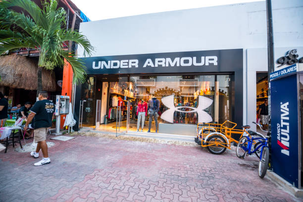 Under Armour store on famous 5th Avenue, Playa Del Carmen stock photo