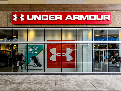 Under Armour storefront in Outlet Collection at Niagara, Ontario, Canada