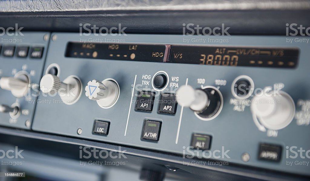 under autopilot control flying at 38000 feet stock photo
